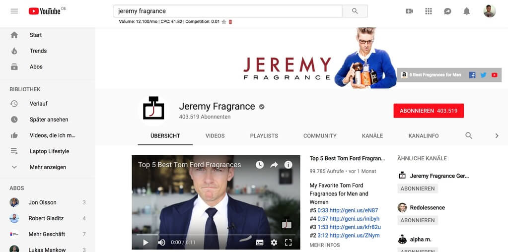 Jeremy Fragrance YouTube