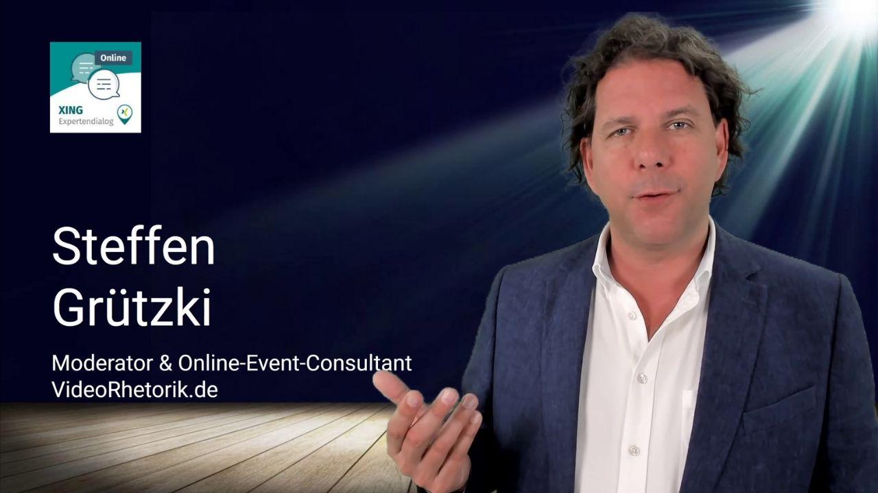 """Moderator Steffen Grützki beim """"XING Expertendialog Online"""" zu Digitalisierung, Führung, Marketing & Vertrieb"""