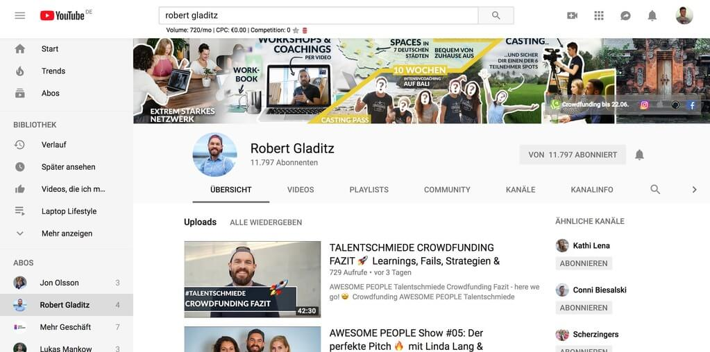 Robert Gladitz YouTube